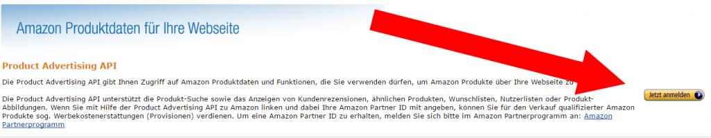 Amazon API Anmeldung